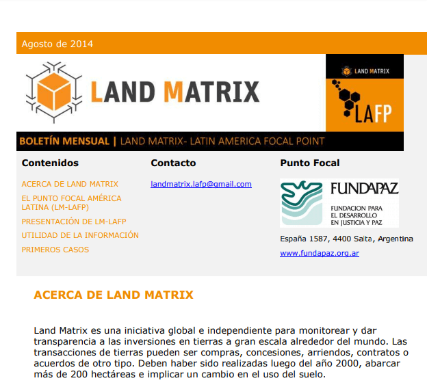 02 - Agosto 2014 Land Matrix LAFP Boletín