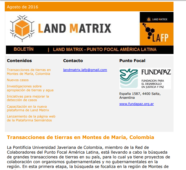 20 - Agosto 2016 Land Matrix LAFP Boletín