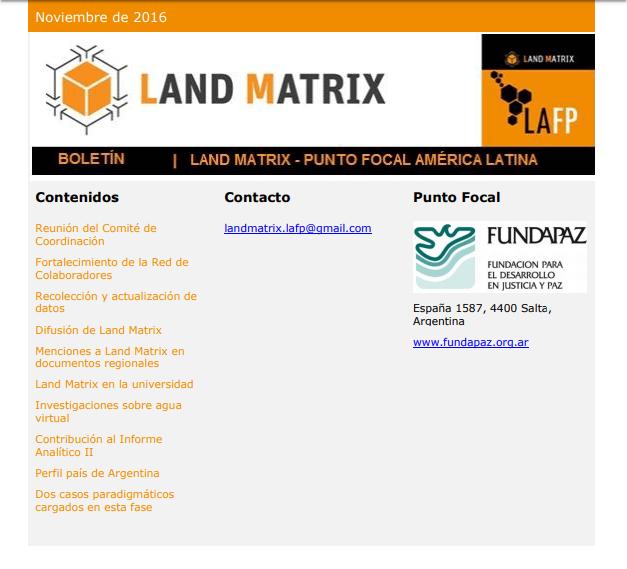 21 - Noviembre 2016 Land Matrix LAFP
