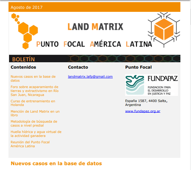 25 - Agosto 2017 Land Matrix LAFP