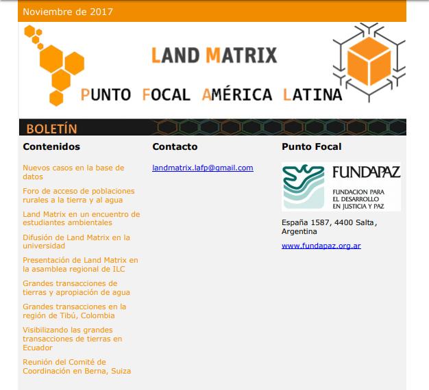 27 - Noviembre 2017 Land Matrix LAFP
