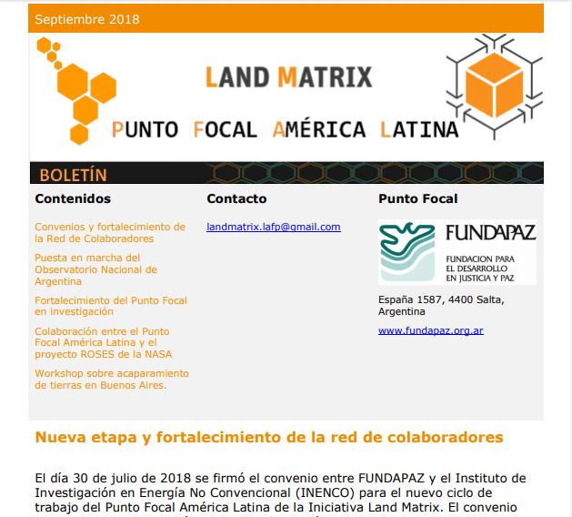 31 - Septiembre 2018 Land Matrix LAFP