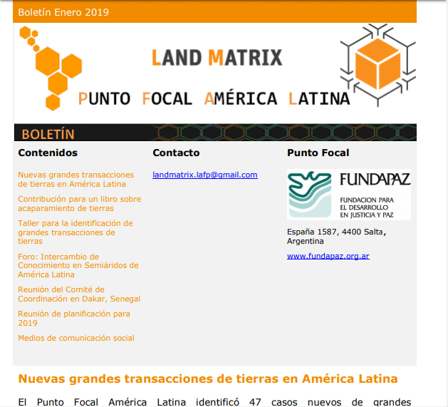 33 - Enero 2019 Land Matrix LAFP