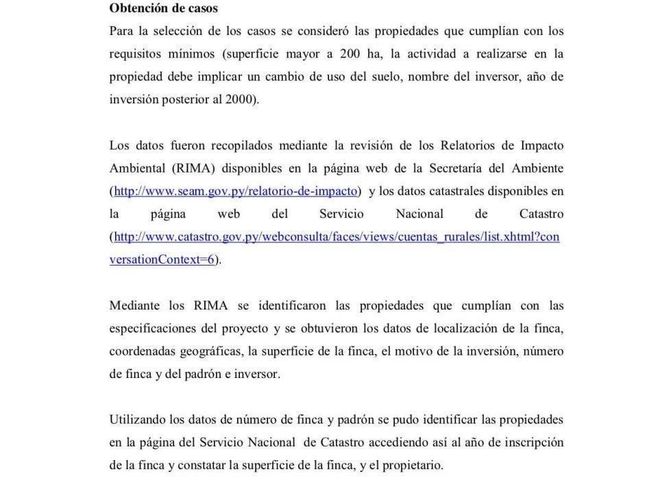 Informe LandMatrix Casos en Paraguay