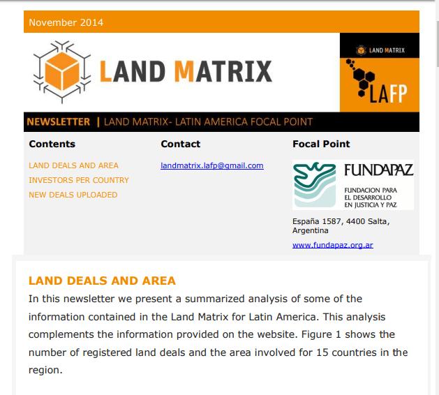 07 - November 2014 Land Matrix LAFP Newsletter