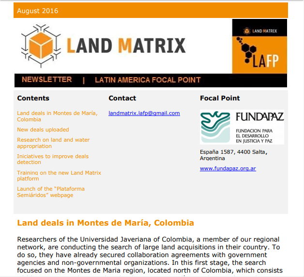 19 - August 2016 Land Matrix LAFP Newsletter