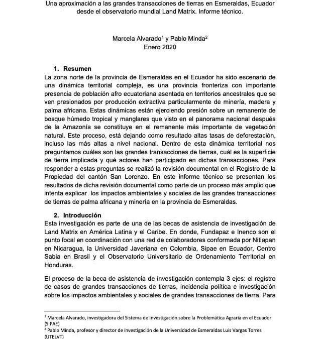 Una aproximación a las grandes transacciones de tierras en Esmeraldas, Ecuador desde el observatorio mundial Land Matrix